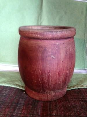 Antique Primitive Wooden Mortar with Original Red Paint and Patina!