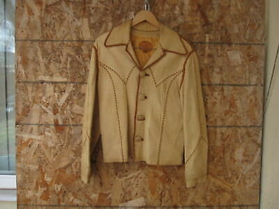 Vtg 1970's Mens North Beach Leather Sz L Beige Leather Whipstitch Jacket