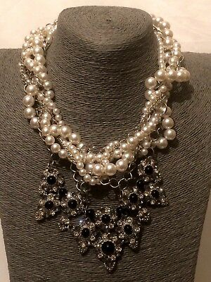 Statement Long Beaded Faux Pearl Crystal Diamante Rhinestone Chain Necklace UK