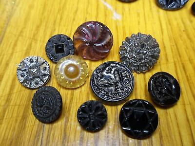 1800's Victorian Glass Button Lot...Unique Variety Black Glass Picture