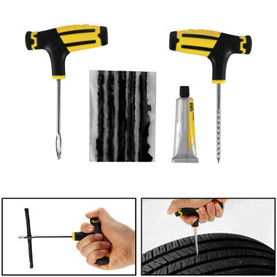8X Car Tubeless Tire Repair Plugs Kit Rasp Needle Patch Fix Tools Cement Set AU