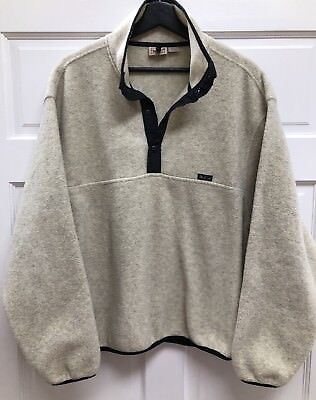 Woolrich Mens L/S 1/2 Snap Cream Outdoors Fleece Sweater -Size Large Nice !