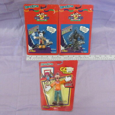 Bendems Lot of 3 Mickey Mouse Goof Troop Phantom Blot, New in Package Poseable