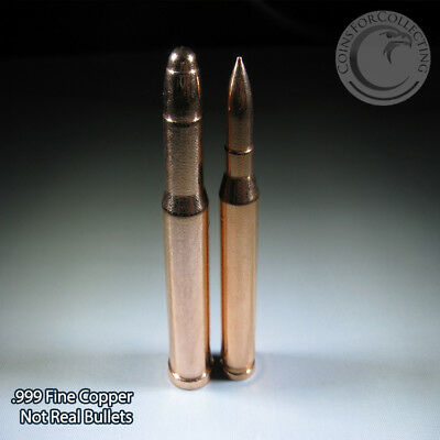 6 Copper Bullets .999 Coppper (Not real bullets) 7.5 oz total