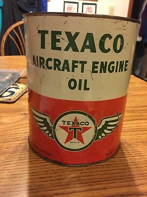 Vintage Texaco Aircraft Engine Oil Can 1 Gallon