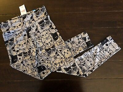NWT Justice Printed Cats & Dogs Legging Black Gray Girls Size 10 & 12