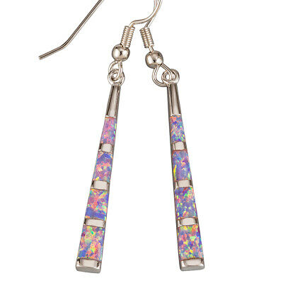 Stick Shape Lavender Purple Fire Opal Silver Jewelry Dangle Drop Earrings
