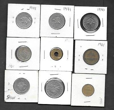 Lebanon - Lot of 9 Coins - Mixed Values & Dates