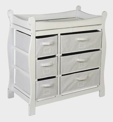 Badger Basket Changing Table w Six Baskets in White Finish [ID 49802]