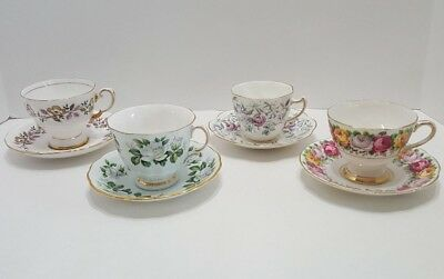 Vintage Bone China Floral Tea Cups and Saucers Lot of 4 Made in England