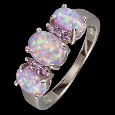 3 Lavender Purple Fire Opal Cabochon CZ Silver Jewelry Ring US Size 6 7 8 9 10