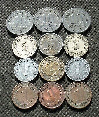 Lot Of Twelve Old Coins Of Germany (German Empire & Weimar Republic) - Mix 455
