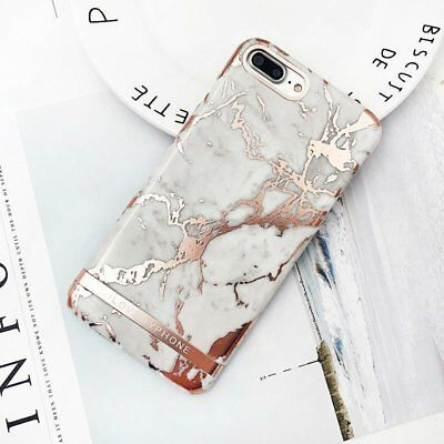 Rose Gold Marble Print Hard PC Phone Case For iPhone 7 8 Plus 6 X XS Black White