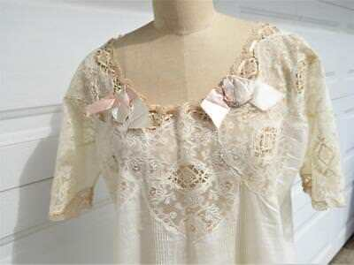 Vintage Antique Lingerie Linen & Lace Nightgown With Satin Bows Full Length