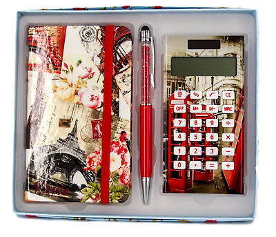 Gift Boxed Set-Notebook, Stylus Pen & Calculator-Paris Scenes-Ideal Gift-AU