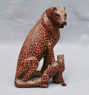 Vintage Cheetah & Cub Sculpture Wood Carved Statue Kenya East Africa ca.1983