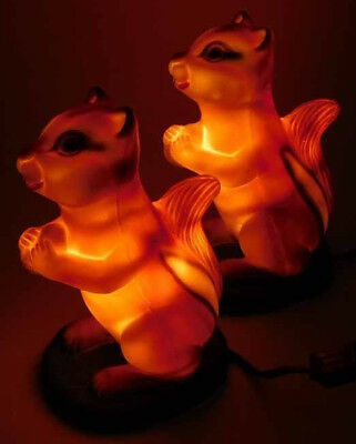 Vintage Mold Craft Blow Mold Chipmunks Pair. Nite Light with Coin Slot. Rare.