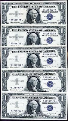 HGR SUNDAY 1957B $1 Silver Certificate (5 Consecutive#) Appears GEM UNCIRCULATED