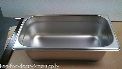 """(lot of 6) THIRD SIZE 4"""" DEEP STAINLESS STEAMTABLE PANS HOT FOOD TABLE STEAM PAN"""