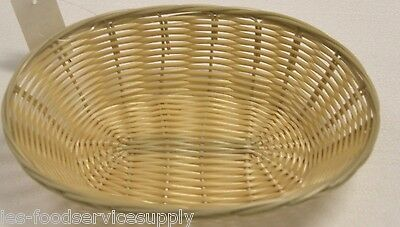 12 EACH Plastic OVAL FOOD BASKET CHIPS BREAD SANDWICH FRENCH FRY - NATURAL WEAVE