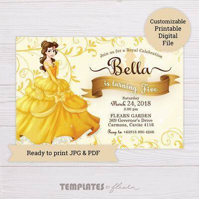 Belle birthday invitation beauty and the beast princess belle belle invitation beauty and the beast invitation digitalprintable filmwisefo