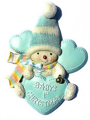 Baby Boy's 1st First Christmas Blue Ornament  Snowman with Hat - New Baby Gift
