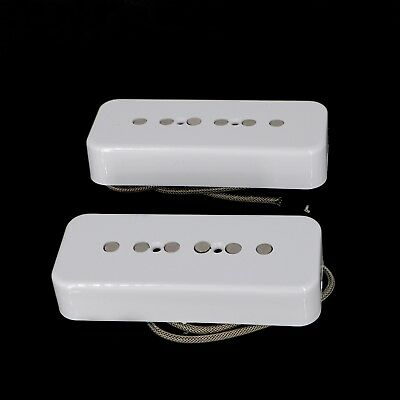 Lindy Fralin ALNICO Pole P90 Soapbar Pickups Hum Cancelling Set - WHITE Covers