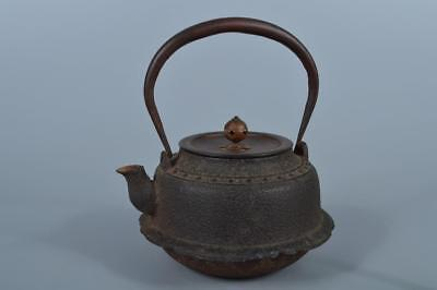 K3926: Japanese XF Old Iron Dram-shaped TEA KETTLE Teapot Tetsubin w/copper lid