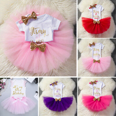 Baby Girl 1st First Birthday Outfit One Year Party Tutu Skirt Set Cake Smash Set
