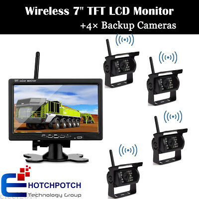 """4x Wireless IR Rear View Back up Reversing Camera+7"""" Monitor For Truck RV Car"""