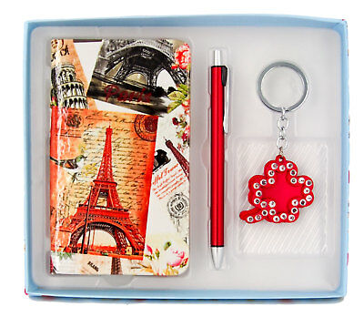 Gift Boxed Set-Notebook, Pen & Keyring-Ideal Gift-Paris Scenes-AU Seller