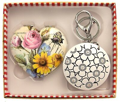 Gift Boxed Decorative Heart Shaped Compact Mirror & Keyring-AU Seller