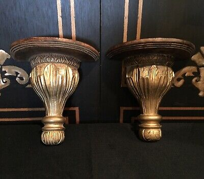 Vintage Hand Carved Wood Semi Gold Finish Pedestal Corbel Wall Shelves