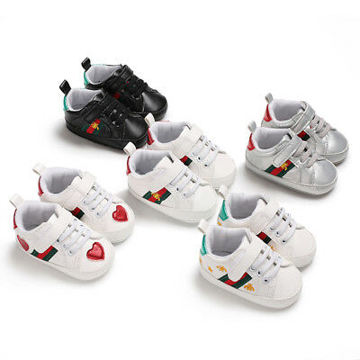 Fashion Baby Boys Girls Sneakers Leather Sports Crib Soft First Walker Shoes