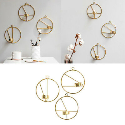 3D Geometric Tea Light Candle Holder Stand Metal Frame Wall Mounted Candlestick