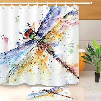 Waterpoof Fabric Shower Curtain Hooks Bathroom Mat Colorful Watercolor Dragonfly
