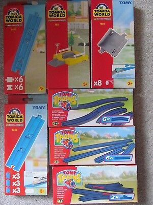 Tomy Trains, 7 packs of assorted track etc. new old stock.