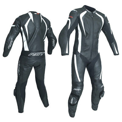 RST R-18 CE Black / White Moto Motorcycle One Piece Leather Suit | All Sizes