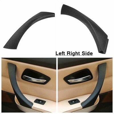 2Pcs Inner Door Panel Handle Outer Trim Cover For BMW E90 3-Series Sedan Black
