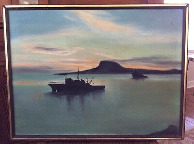 Mid Century Fishing Shrimp Trawlers Off Shore With Mountains Framed Signed Art