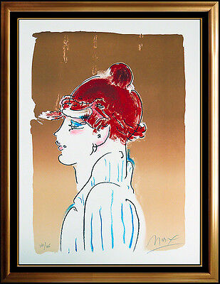 Peter Max Color Silkscreen Gril From Ibiza Signed Blushing Beauty Painting Art