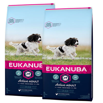 EUKANUBA 2 x 15 kg Active Adult Medium Breed Huhn Premium Hundefutter Kroketten