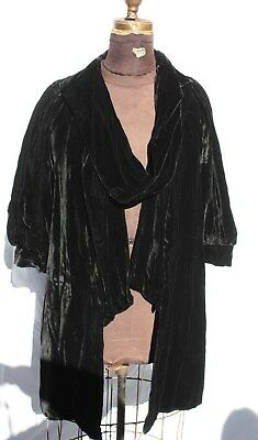 NRA tag 1934 Black SILK VELVET Smock w/ gathered Shoulder Opera 3/4 Sleve Coat