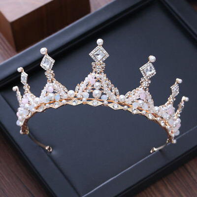 6cm High Gold Clear Crystal Beads Pearl Wedding Party Pageant Prom Tiara Crown