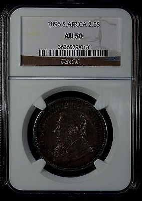 South Africa 2.5 Shillings 1896  NGC AU 50 Silver