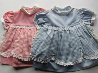 vintage baby dresses pink & blue gingham 60's age 1 Easter pastel colours