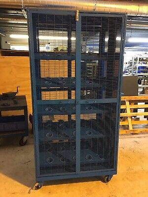 """USED LARGE MACHINE TOOL CABINET 100 HOLE ON CASTERS 79"""" x 39"""" x 33"""" CNC TOOLS"""