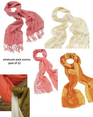 Wholesale Job lot fashion scarves 12 assorted Market Stall-Retail-Fundraisers