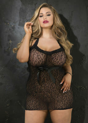 Stretch Leopard Patterened Stretch Lace Chemise Black Queen Size