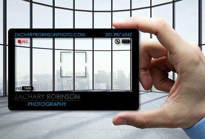 Uber 50 business cards logo 1299 picclick 50 clear plastic business cards camera photographer 30 mil thick free design reheart Image collections